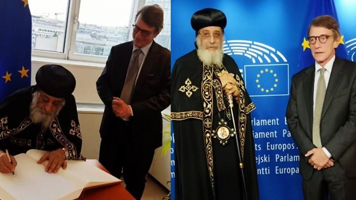 تواضروس الثّاني في البرلمان الأوروبيّ في بروكسل