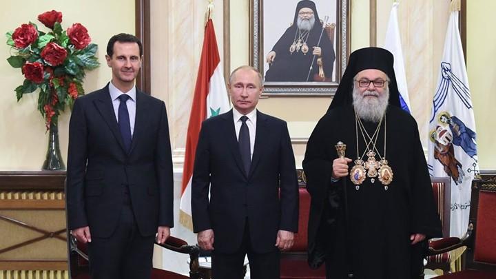 الرّئيسان الرّوسيّ والسّوريّ زارا البطريرك يوحنّا العاشر في دمشق