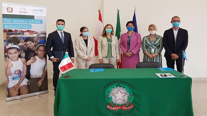 سفارة إيطاليا: توقيع اتفاق بقيمة مليوني يورو لدعم برنامج اليونيسف لتأهيل المدارس الرسمية
