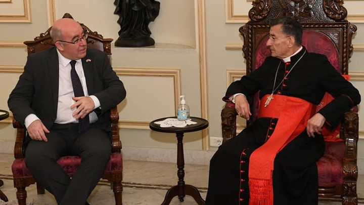 البطريرك الرّاعي يلتقي السّفير البريطانيّ في لبنان